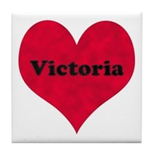 Victoria Leather Heart Tile Coaster