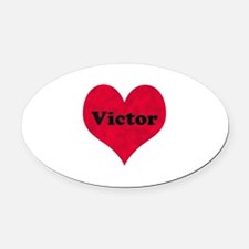 Victor Leather Heart Oval Car Magnet