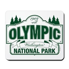 Olympic National Park Green Sign Mousepad