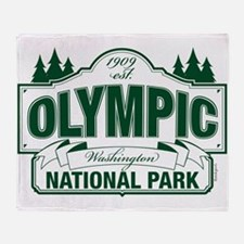Olympic National Park Green Sign Throw Blanket