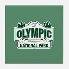 Olympic National Park Green Sign Tile Coaster