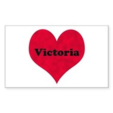 Victoria Leather Heart Rectangle Decal