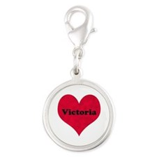 Victoria Leather Heart Silver Round Charm