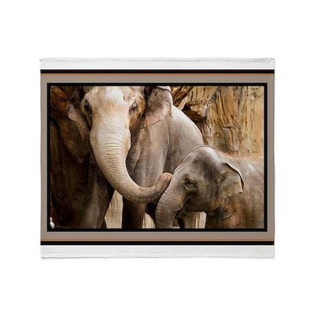 Mama Elephant and Baby. Throw Blanket
