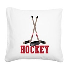 Hockey Square Canvas Pillow