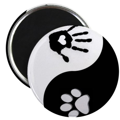 dog human yin yang Magnets