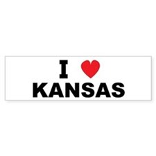I Love Kansas Bumper Car Sticker