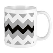 Black Gray and White Stripe Mug