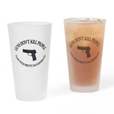 Cool People with mustaches kill people Drinking Glass