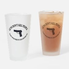 Funny People with mustaches kill people Drinking Glass