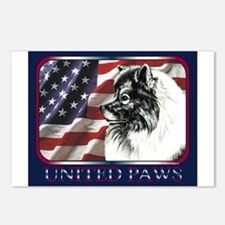 Keeshond USA Flag Postcards (Package of 8)