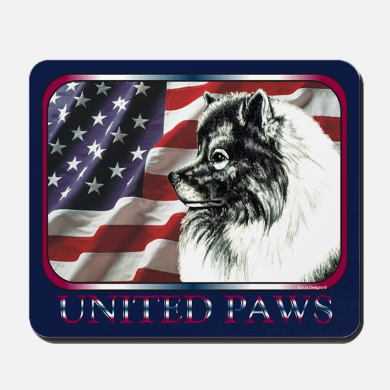 Keeshond USA Flag Mousepad