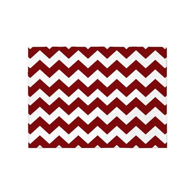 Chevron Stripe Rug: Maroon And White Chevron Stripes 5'x7'Area Rug By