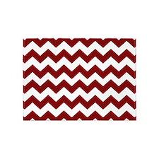 Maroon and White Chevron Stripes 5'x7'Area Rug