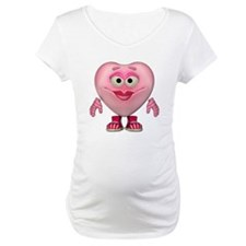 Cute Little Miss Pink Heart Maternity T-Shirt