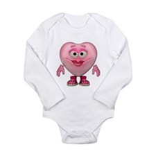 Cute Little Miss Pink Heart Long Sleeve Infant Bod