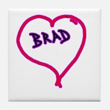 i love brad heart Tile Coaster