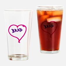 i love brad heart Drinking Glass