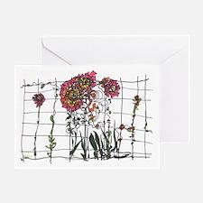 zinnias - art by Miriam Climenhaga Greeting Card