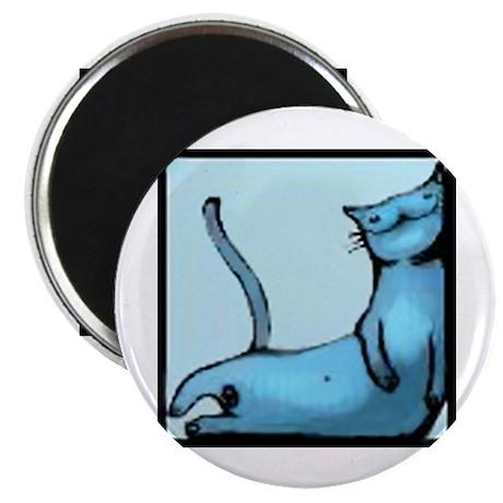 blue smiling cat design Magnet