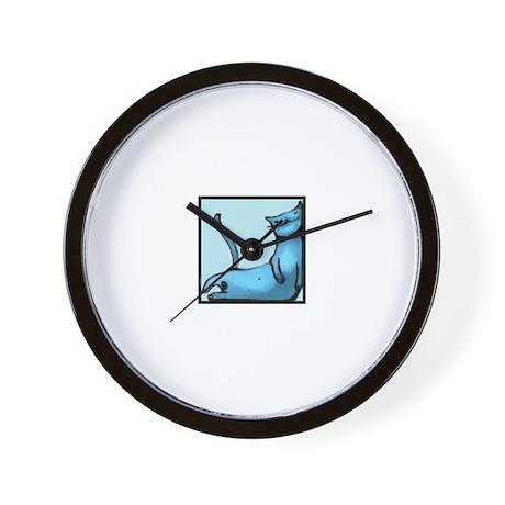 blue smiling cat design Wall Clock