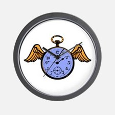 Time Flies (blue) Wall Clock