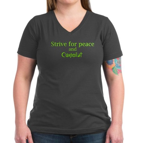 Strive for Peace and Coexist Women's V-Neck Dark T