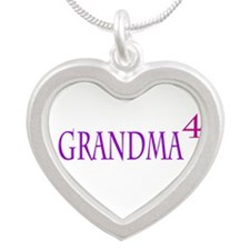 Grandma of Four Silver Heart Necklace