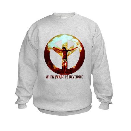 when peace is reversed Kids Sweatshirt
