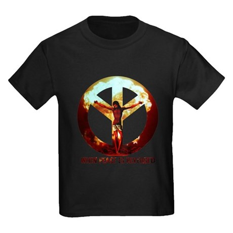when peace is reversed Kids Dark T-Shirt