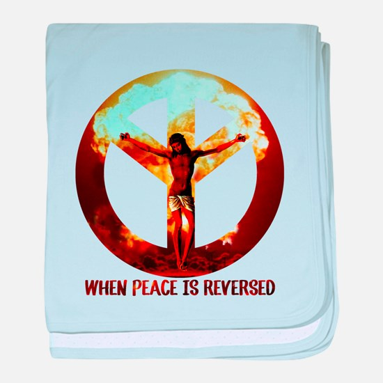 when peace is reversed baby blanket