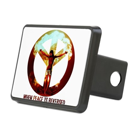 when peace is reversed Rectangular Hitch Cover
