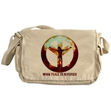 when peace is reversed Messenger Bag