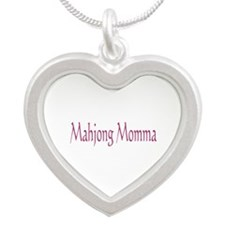 Mahjong Momma Silver Heart Necklace