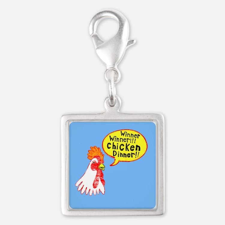 Winner Chicken Dinner Silver Square Charm