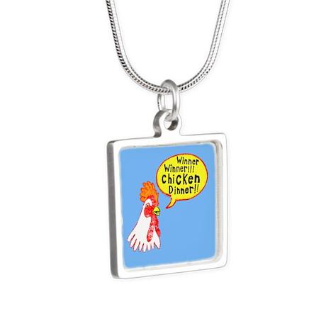 Winner Chicken Dinner Silver Square Necklace