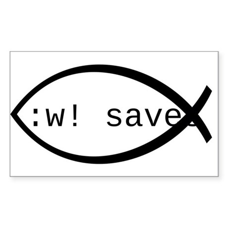 :w! saves ichthys (black) Sticker