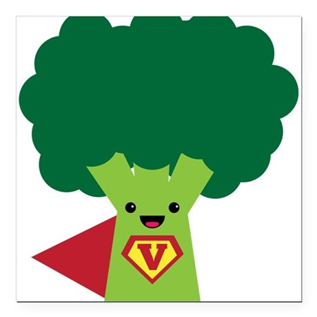 "Super Brocoli Square Car Magnet 3"" x 3"""