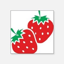 "Sweet Strawberries Square Sticker 3"" x 3"""