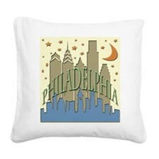 Philly Skyline beachy Square Canvas Pillow