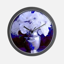 White Roses in Silver Vase Wall Clock