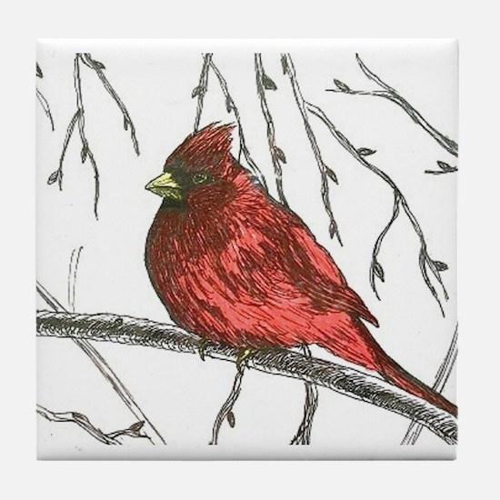 Northern Cardinal Tile Coaster