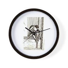 Chickadee Sees Wall Clock