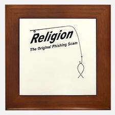 Religion: The Original Phishing Scam Framed Tile