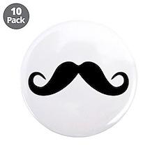 "Mustache 3.5"" Button (10 pack)"