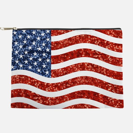 sequin american flag Makeup Pouch