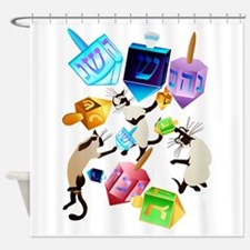 Delightful Dreidels-lettered Shower Curtain
