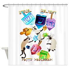 Delightful Dreidels-lettered Shower Curtain