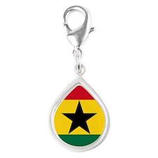 Flag of Ghana Silver Teardrop Charm