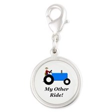 My Other Ride Blue Silver Round Charm